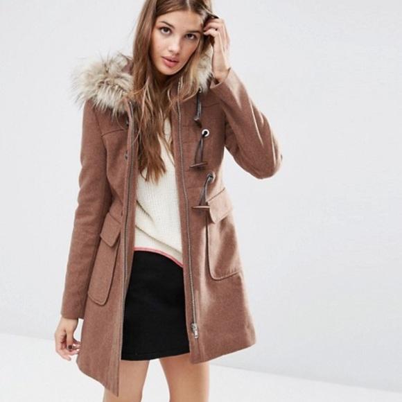 ab5bd515a2b35 ASOS Jackets & Coats   Wool Blend Faux Fur Hooded Duffle Coat   Poshmark